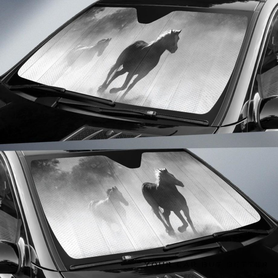 Black And White Equine Car Auto Sun Shades 230916