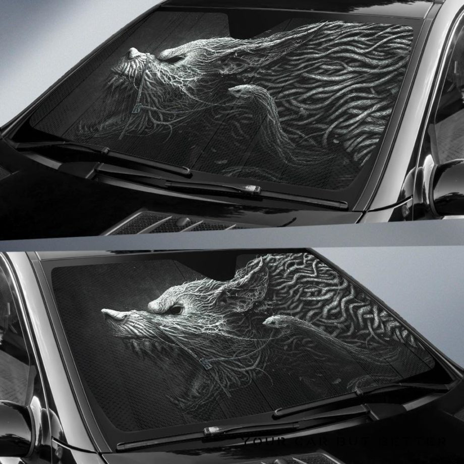 Black And White Hellhound Wolf Car Auto Sun Shades 230916