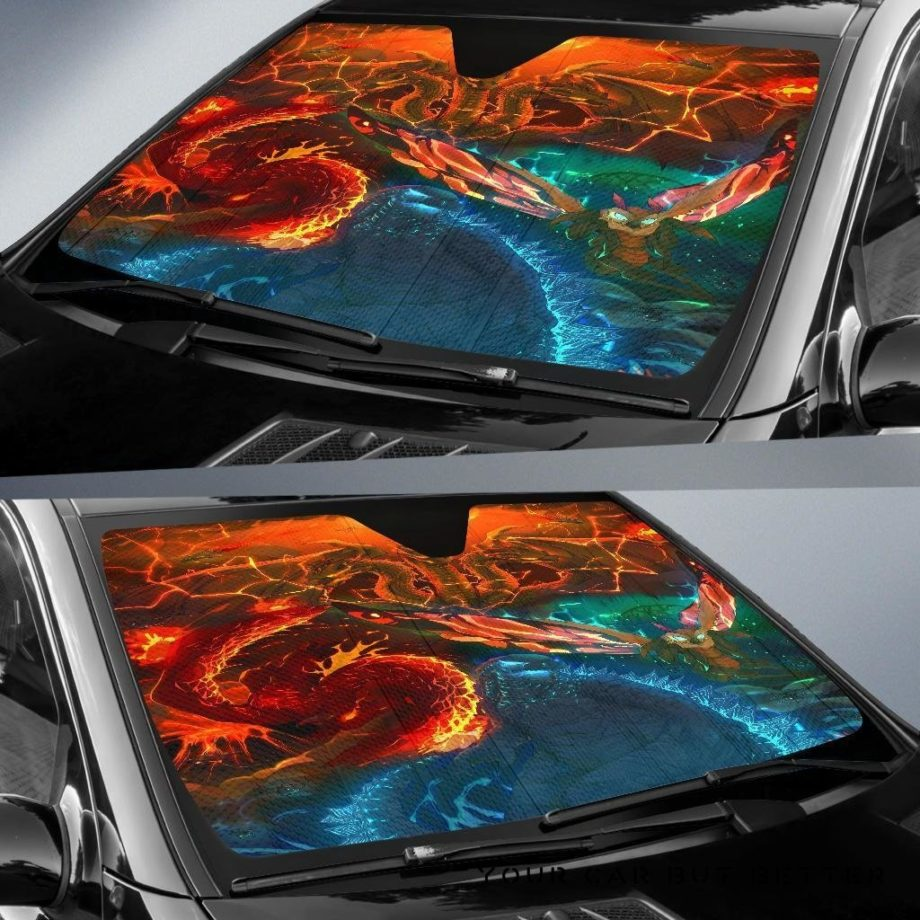 Godzilla Fight Car Auto Sun Shades 230916