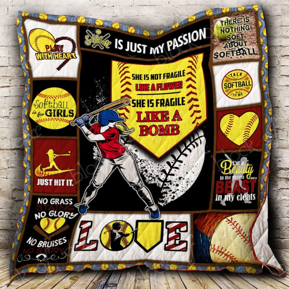 She Is Fragile Like A Bomb Softball Quilt P236s1 KP-105