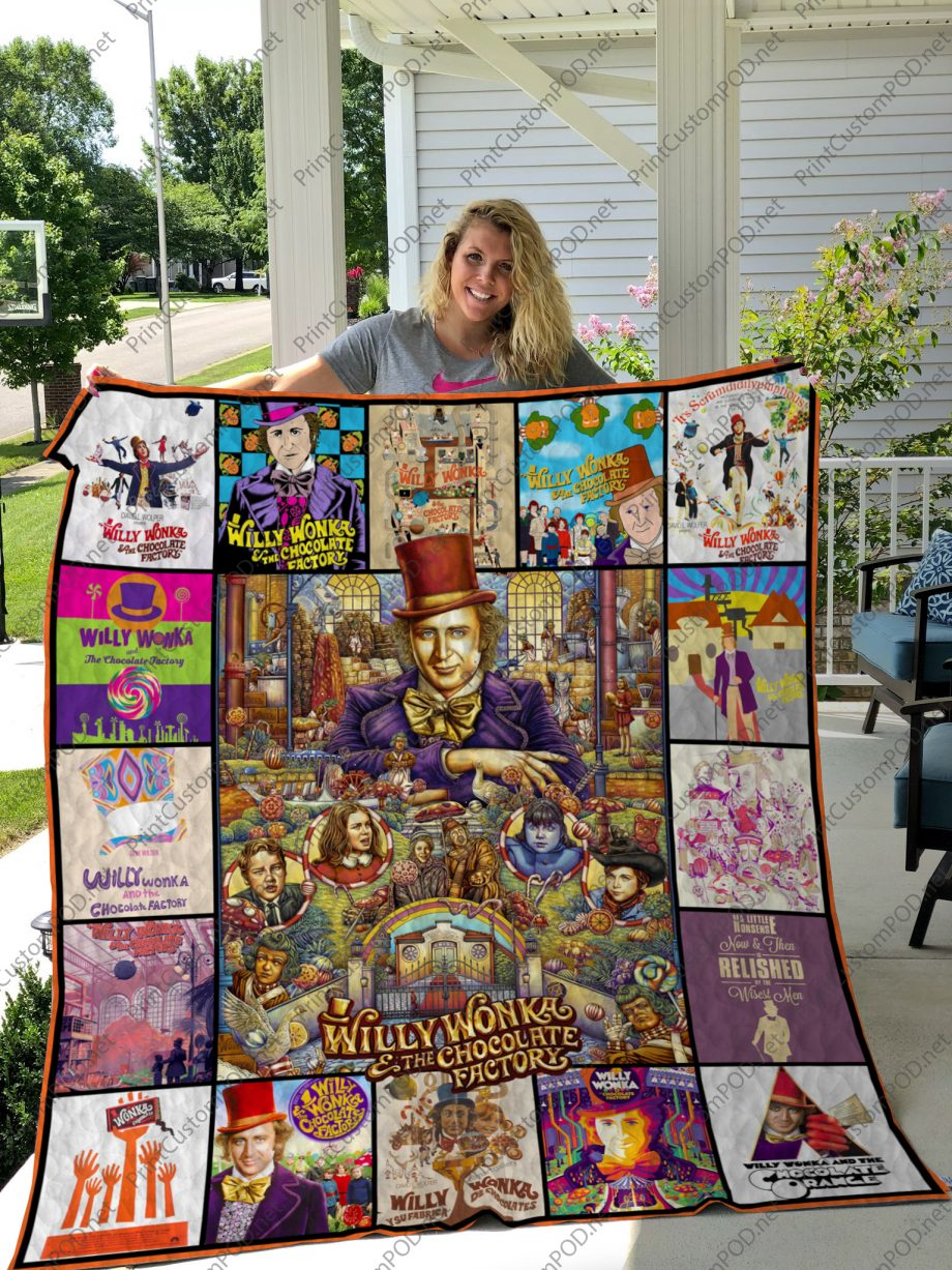 H Willy Wonka and the chocolate factory Quilt Blanket