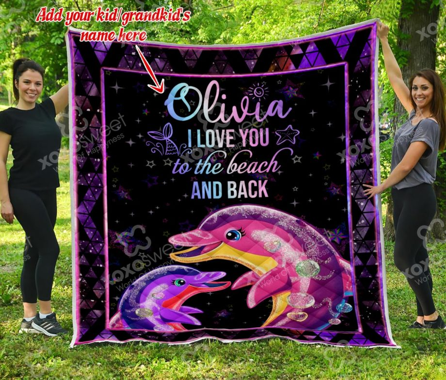 Dolphin Quilt I love you (Custom name) KP-92