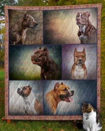 American Staffordshire Terrier Dog D8011 Quilt Blanket