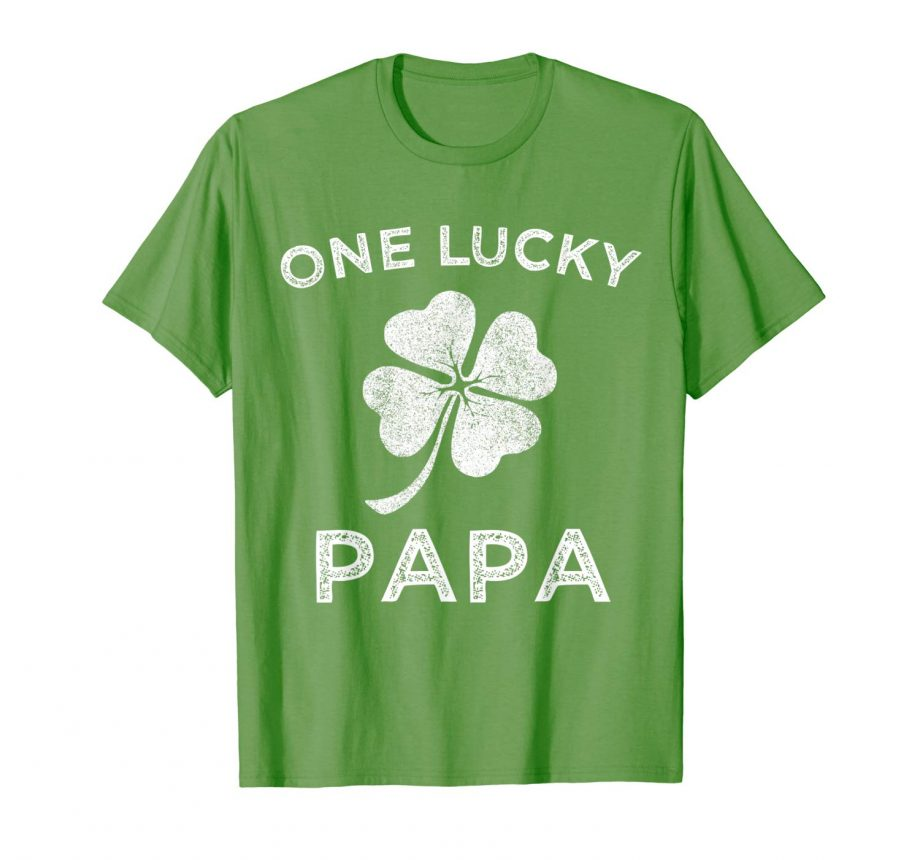 One Lucky Papa – St Patricks day retro father gift t-shirt