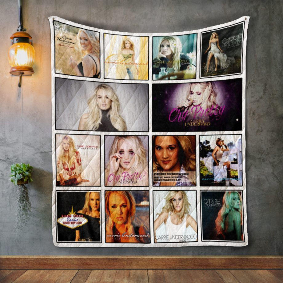 Carrie Underwood Two Album Covers Quilt Blanket
