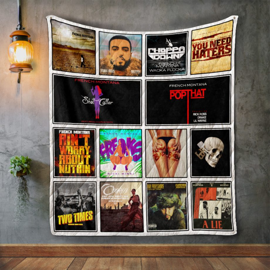 French Montana Album Covers Quilt Blanket