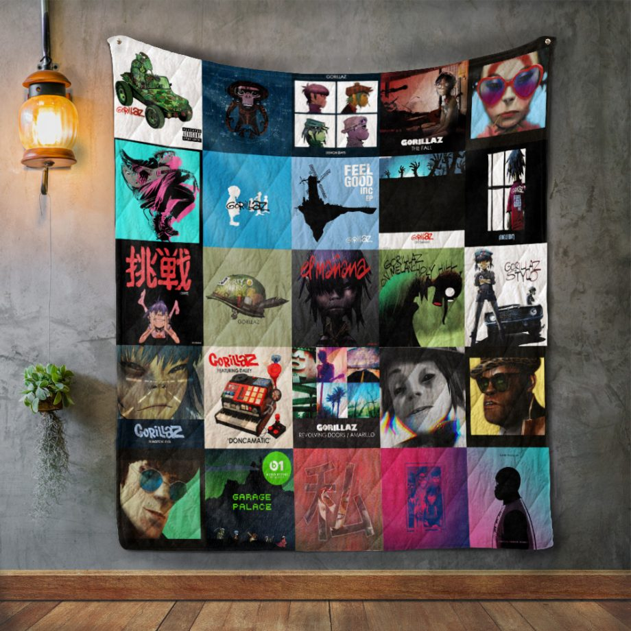 Gorillaz Album Covers Quilt Blanket