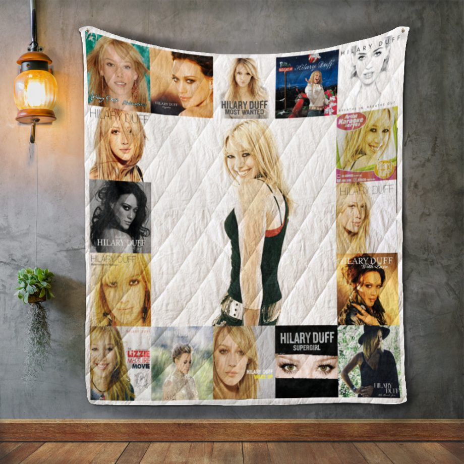 Hilary Duff Album Covers Quilt Blanket
