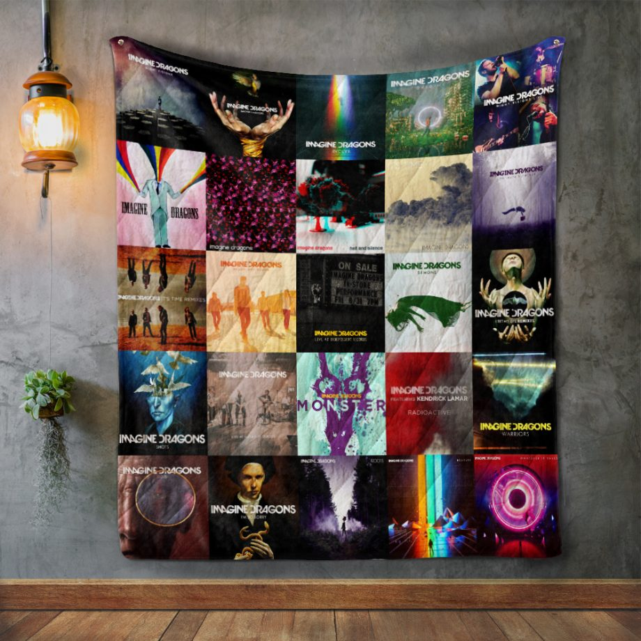 Imagine Dragons Style Three Album Covers Quilt Blanket