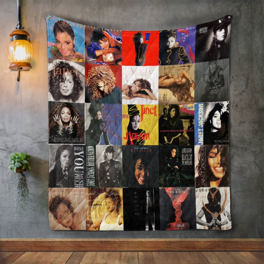 Janet Jackson Style Two Album Covers Quilt Blanket
