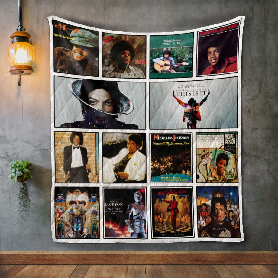 Michael Jackson Style Two Album Covers Quilt Blanket