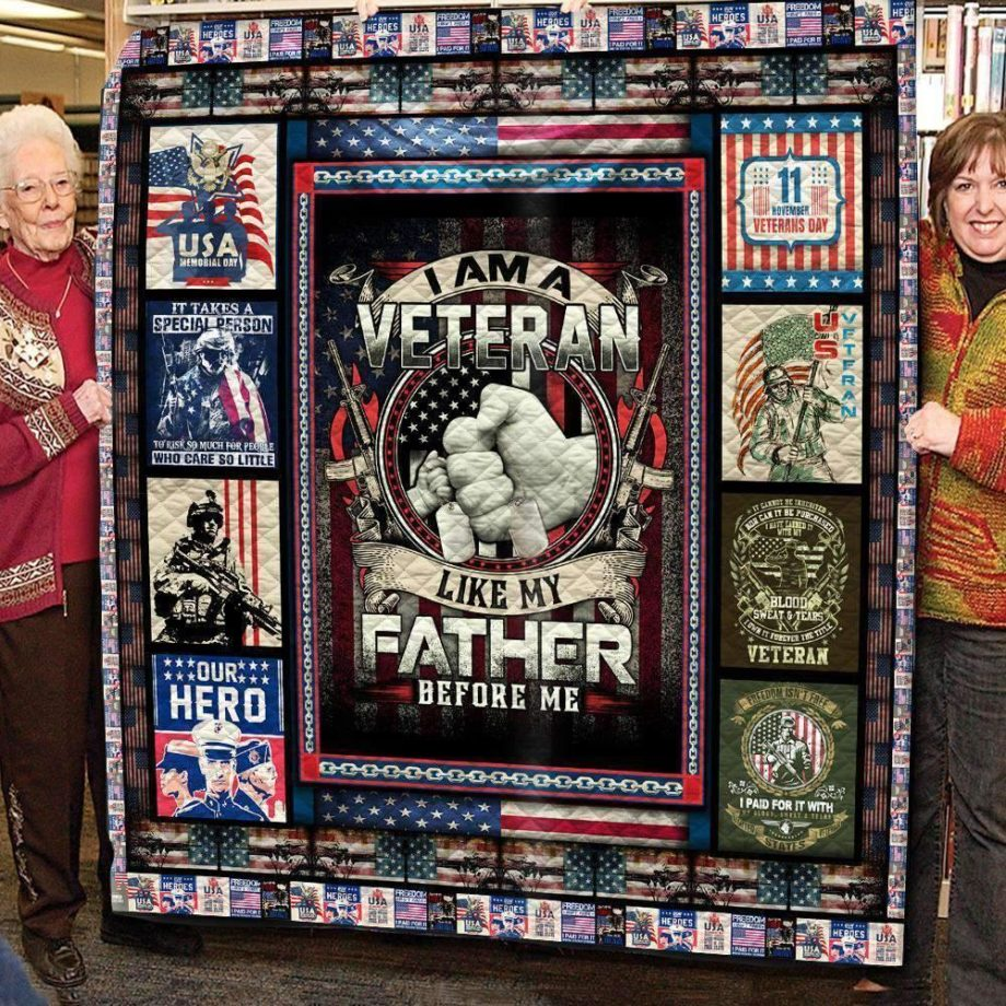 A BC-I Am A Veteran Like My Father Before Me KP8211 3D Quilt Blanket TH080