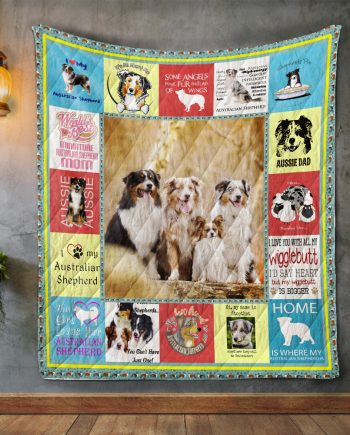 Australian Shepherd Dog Album Covers Quilt Blanket