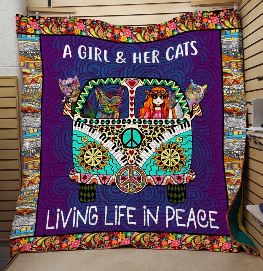 Boston Celtics A girl and her cats quilt
