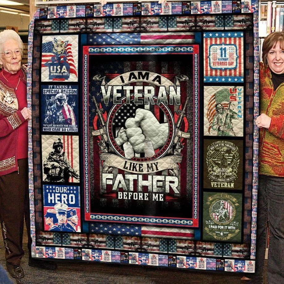 Boston Celtics I Am A Veteran Like My Father Before Me Quilt Blanket
