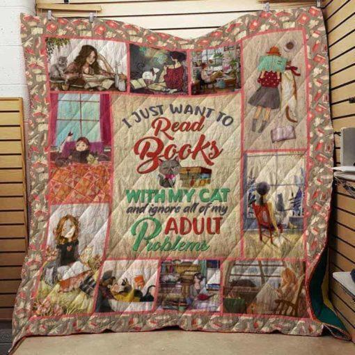 Boston Celtics  I just want to read books with my cat Quilt