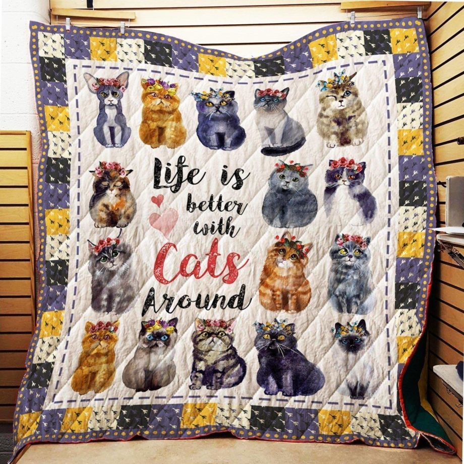 Boston Celtics  Life Is Better With Cats Around Quilt