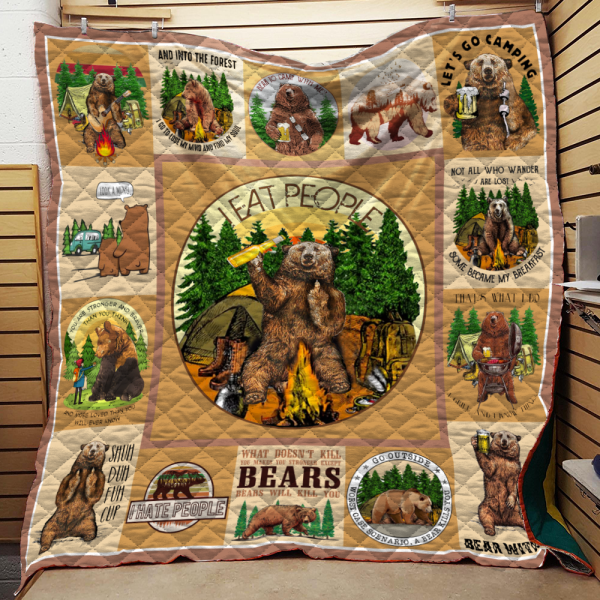 Camping Bear Quotes Quilt Blanket KWP07