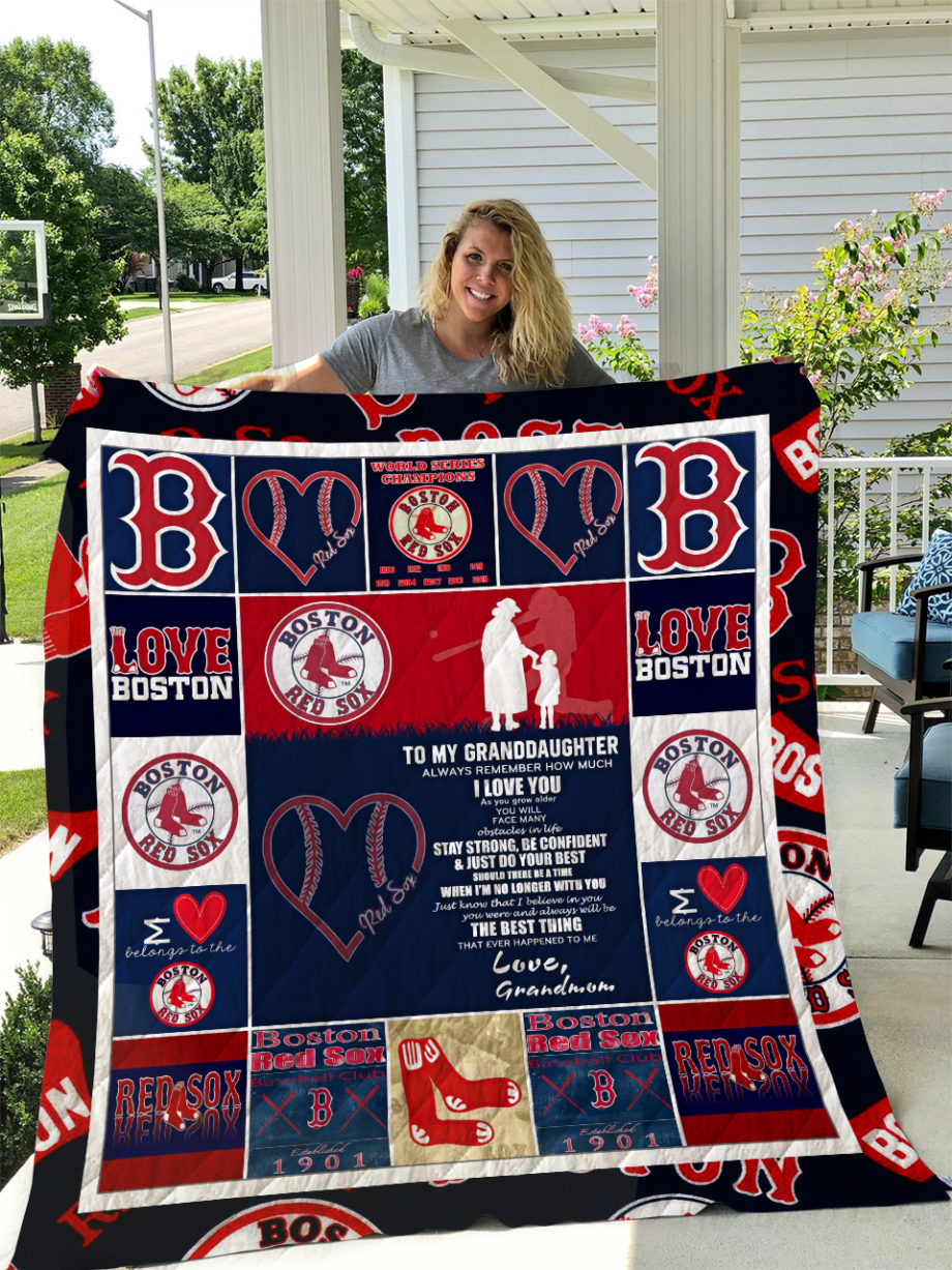 Boston Red Sox  TO MY GRANDDAUGHTER  LOVE GRANDMOM Quilt KP-263