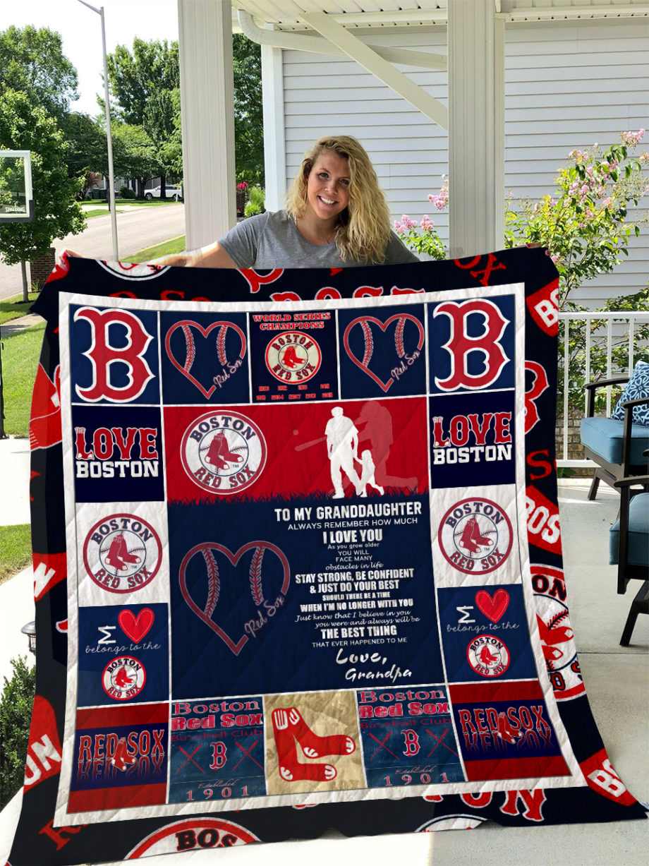 Boston Red Sox  TO MY GRANDDAUGHTER  LOVE GRANDPA Quilt KP-264