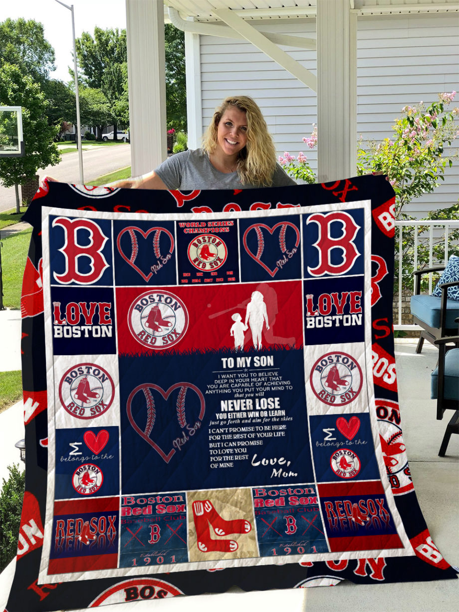 Boston Red Sox  TO MY SON  LOVE MOM Quilt KP-269