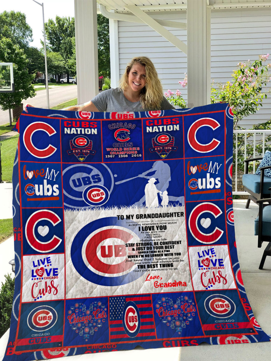 Chicago Cubs  TO MY GRANDDAUGHTER  LOVE GRANDMOM Quilt KP-306