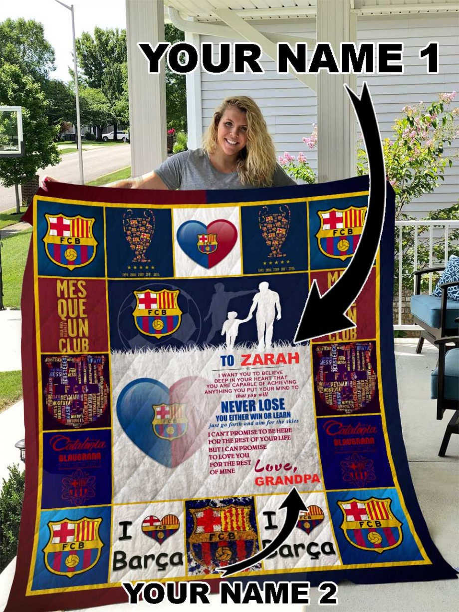 FC Barcelona Personalized Name Quilt