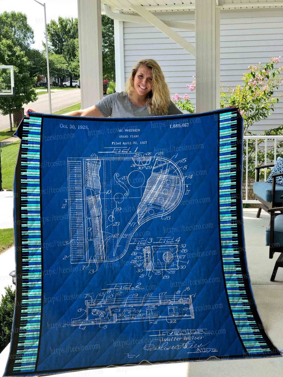Grand Piano Patent Quilt Blanket 01