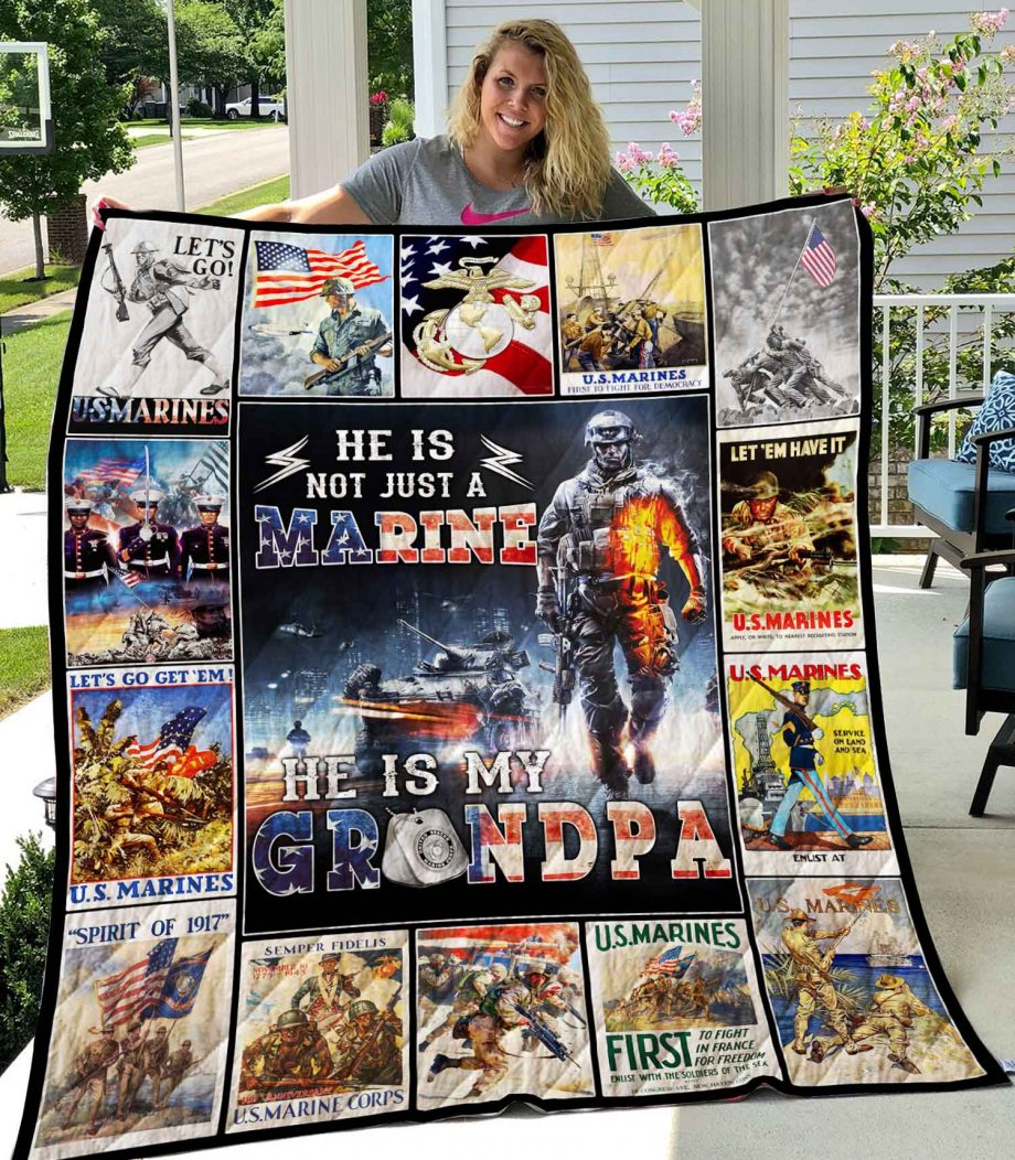 He Is Not Just Marine He Is Grandpa Quilt0489