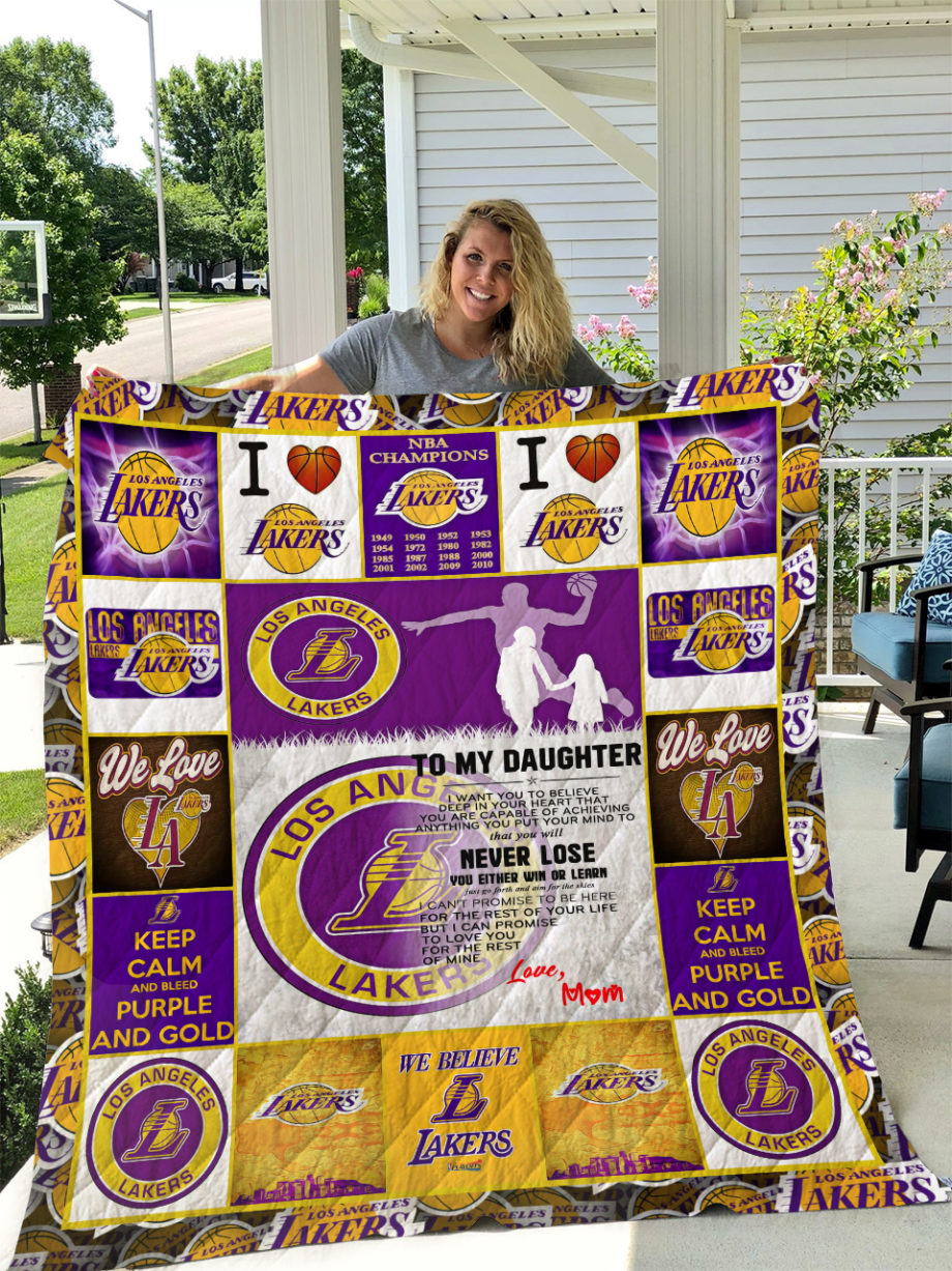 Los Angeles Lakers  TO MY DAUGHTER  LOVE MOM Quilt KP-212