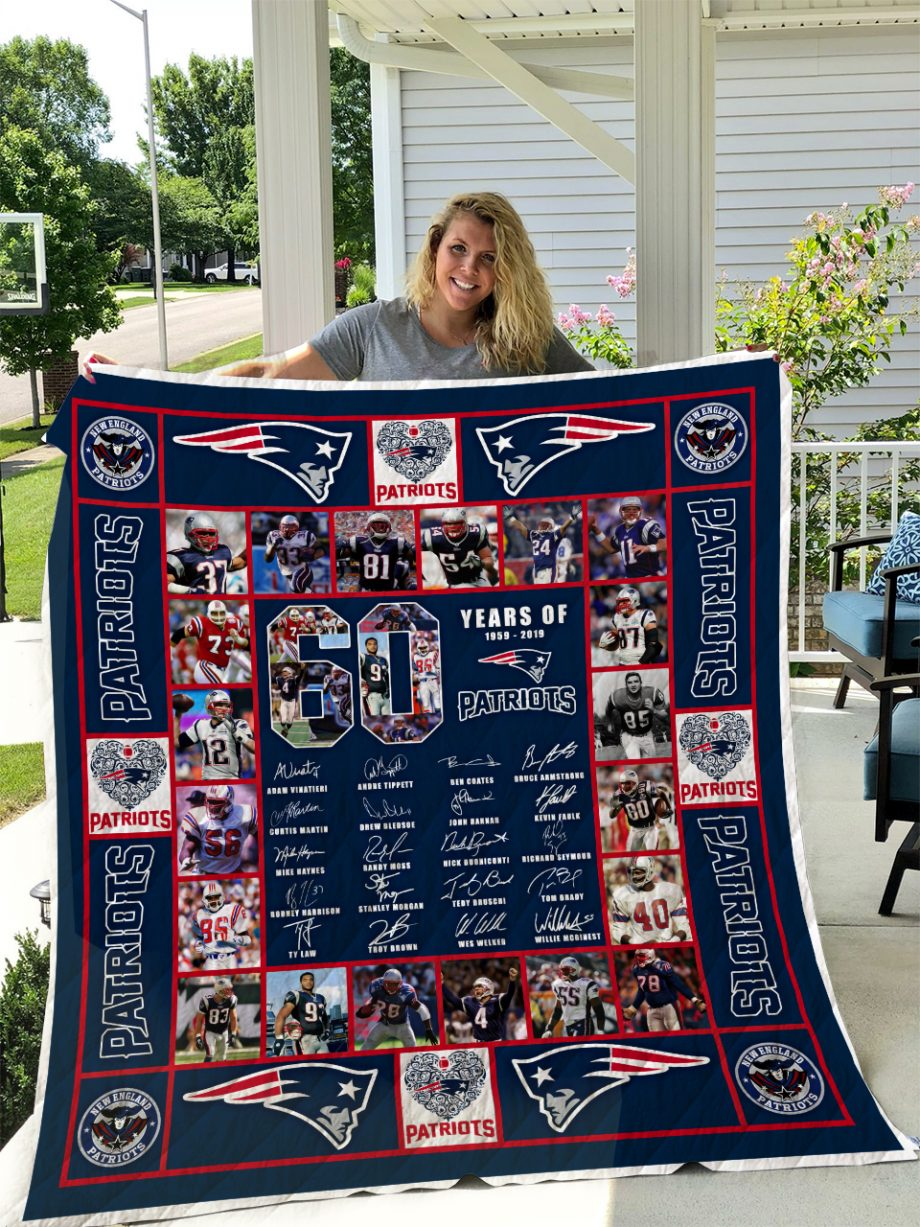 New England Patriots 60 Years Quilt Blanket I1D1