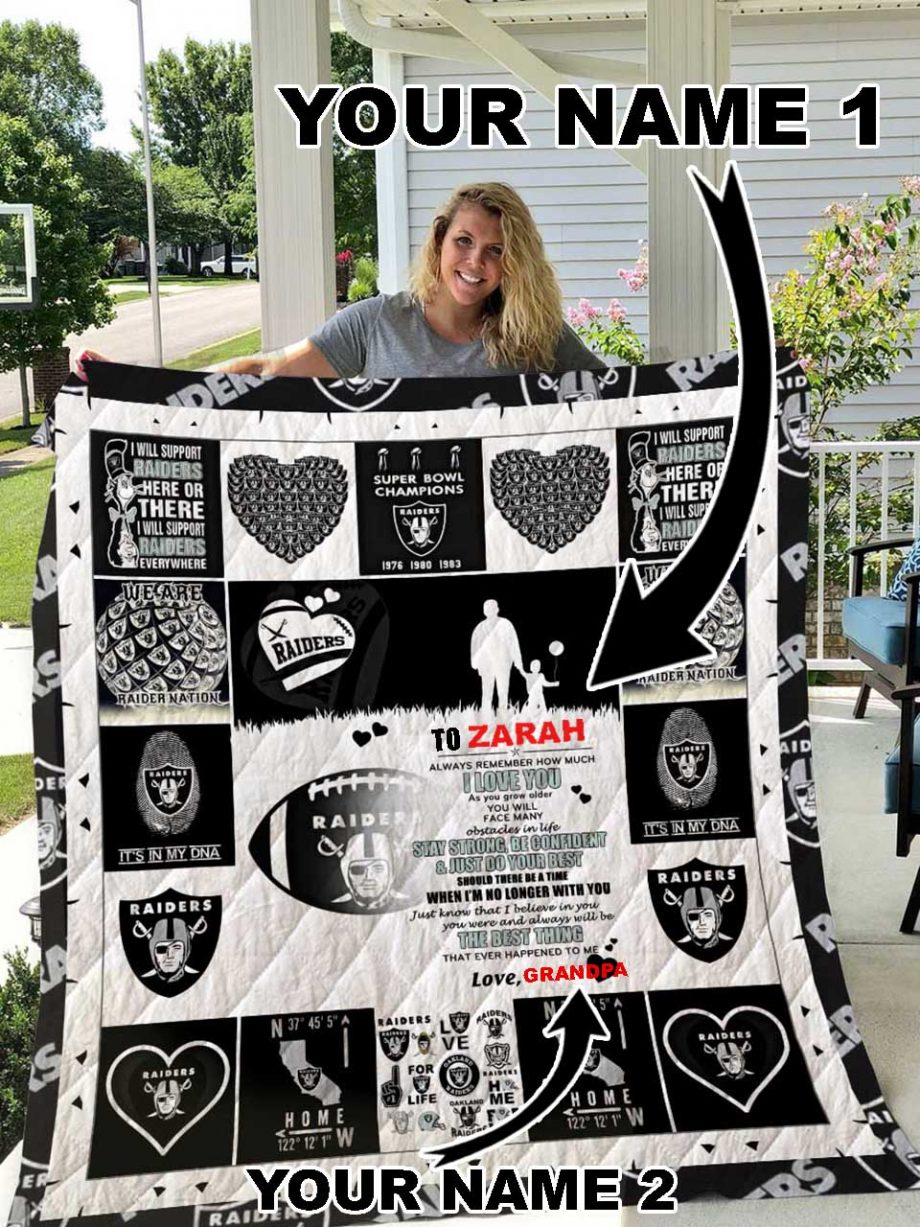 Oakland Raiders Personalized Name Quilt