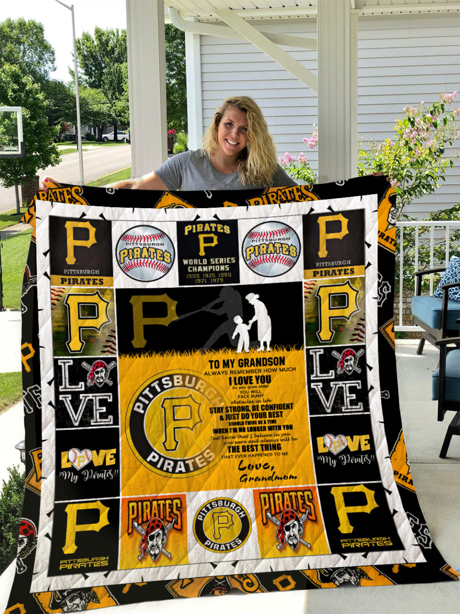 Pittsburgh Pirates  TO MY GRANDSON  LOVE GRANDMOM Quilt KP-237