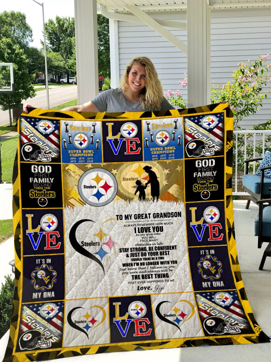 Pittsburgh Steelers TO MY GREAT GRANDSON LOVE GIGI Quilt