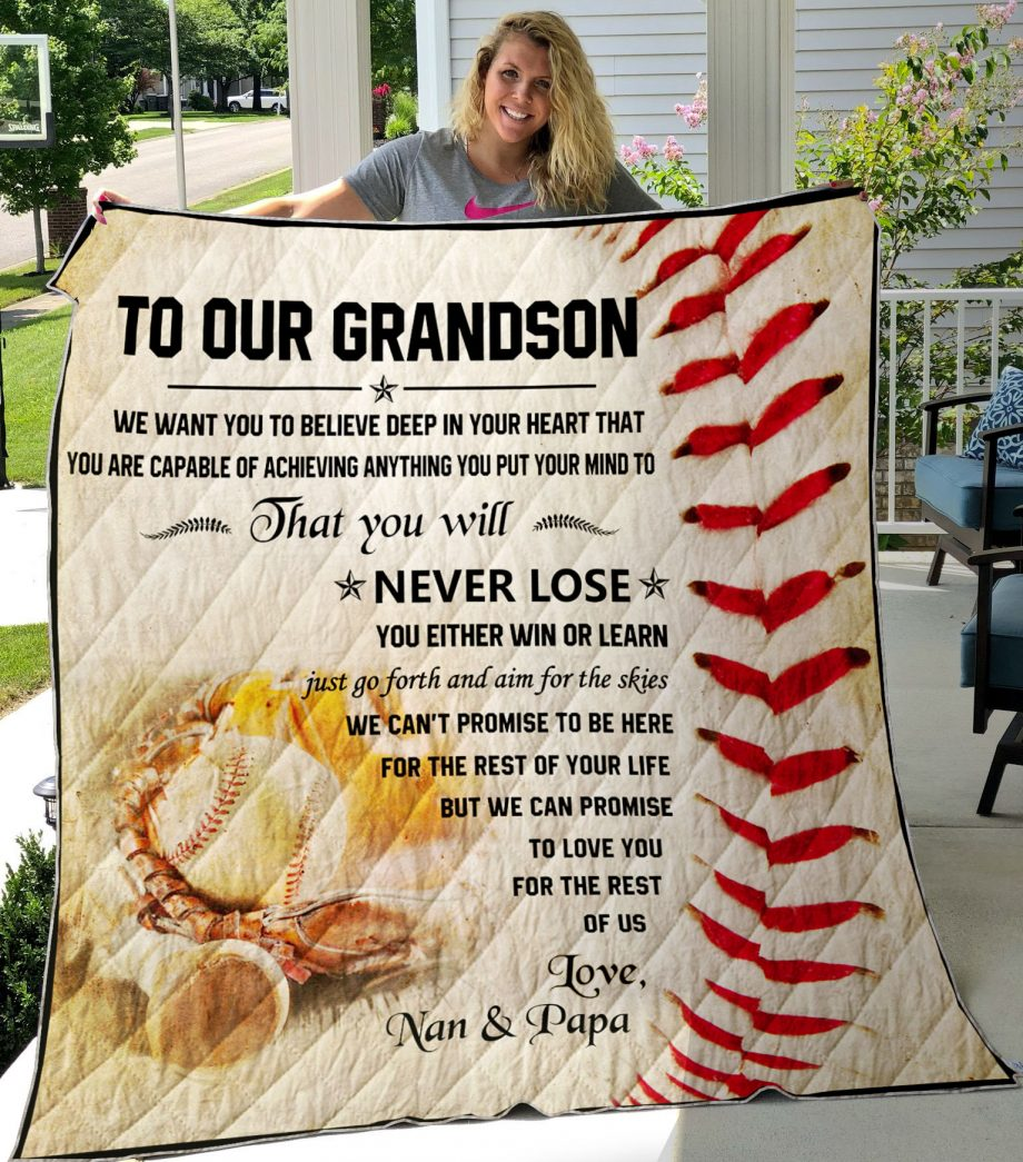 Quilt BaseballTo Our Grandson We Want You To Believe Deep In Your Heart-0489