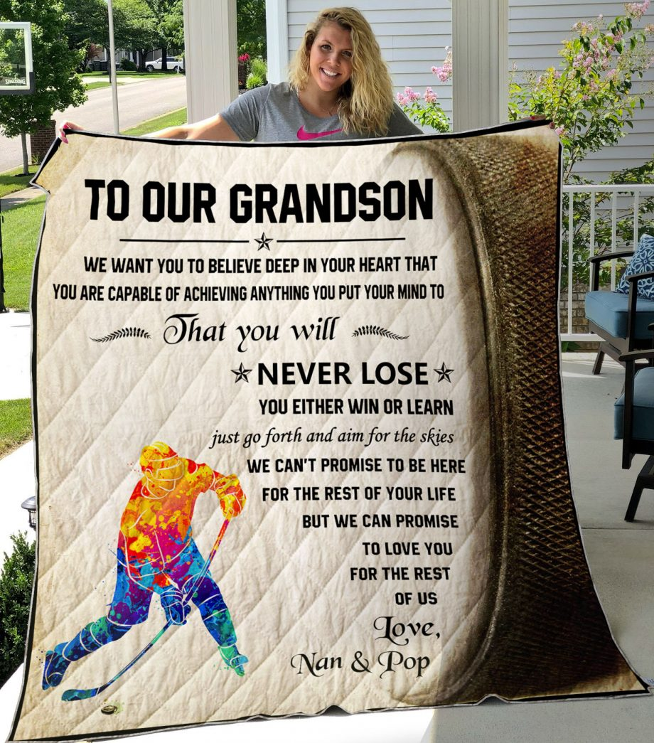 Quilt Hocky_To Our Grandson We Want You To Believe Deep In Your Heart0489