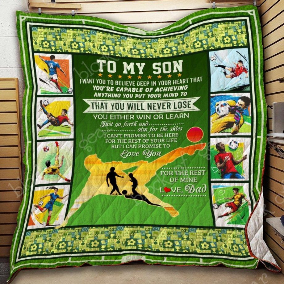 To My Son, Soccer Quilt Blanket KC1507