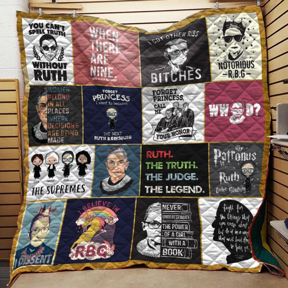 Ruth Bader Ginsburgh Collage Quilt Blanket KPW0907