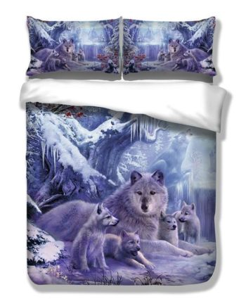 Chirstmas 3D Snow Wolf Bedding Set For Kids Boys Purple Scenery Home Decor Duvet Cover Pillowshams King Full Queen Size Quilt Cover