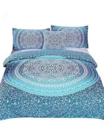 Beddingoutlet Luxury Boho Bedding Set Queen Crystal Arrays Duvet Quilt Cover With Pillow Case Blue Printed Bedspread 4Pcs