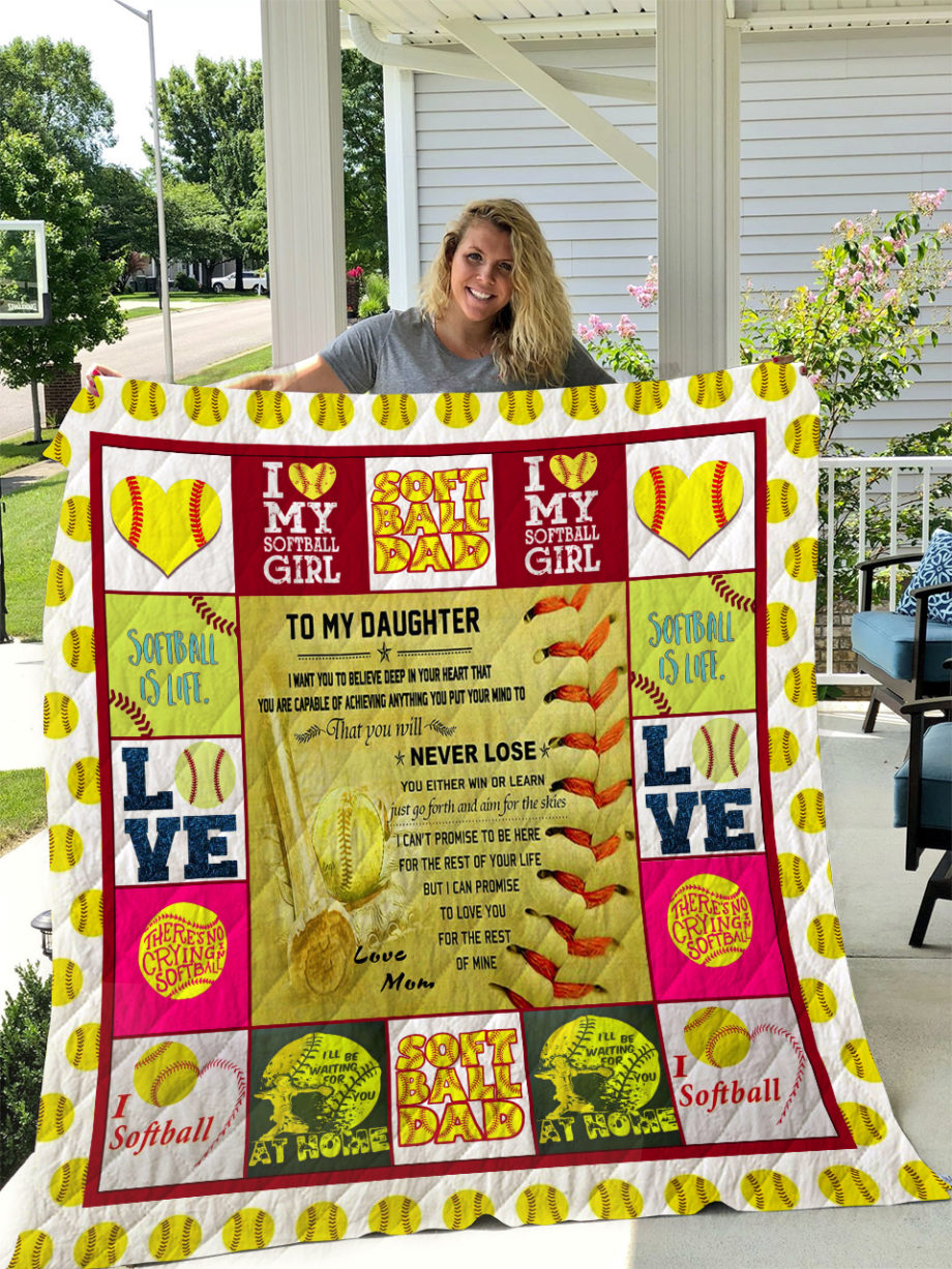 Softball  TO MY DAUGHTER  LOVE MOM Quilt KP-216