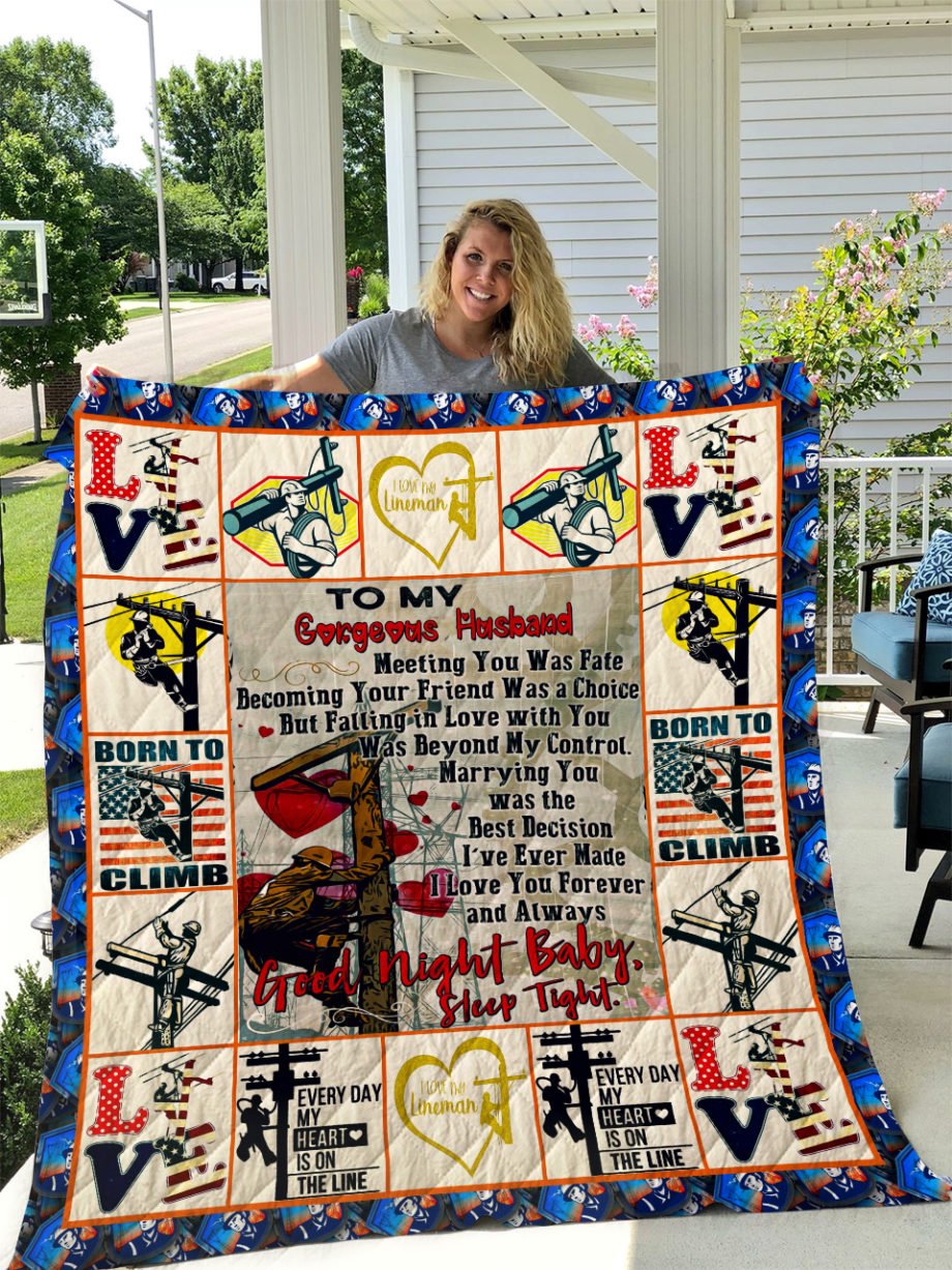 The Lineman  TO MY HUSBAND  LOVE WIFE Quilt KP-304