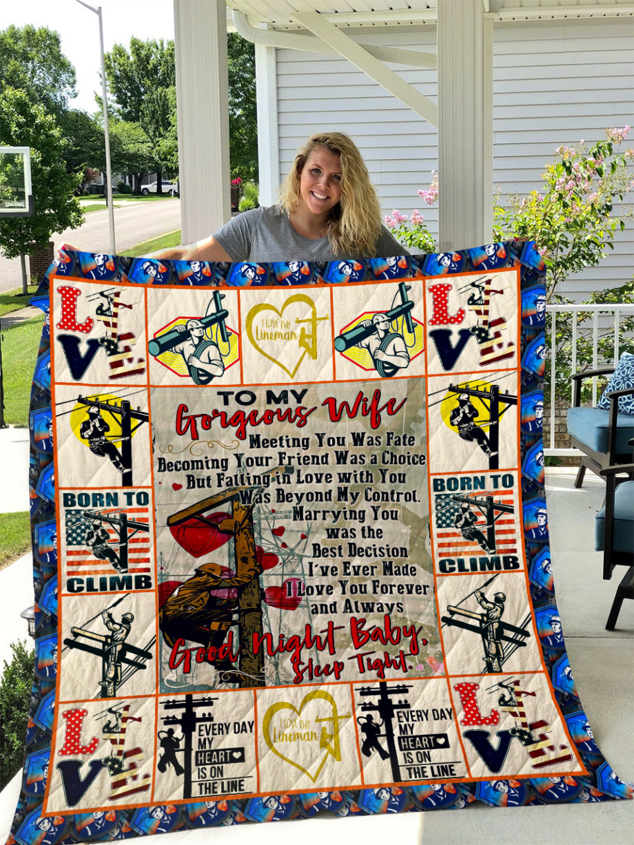 The Lineman  TO MY WIFE  LOVE HUSBAND Quilt KP-305