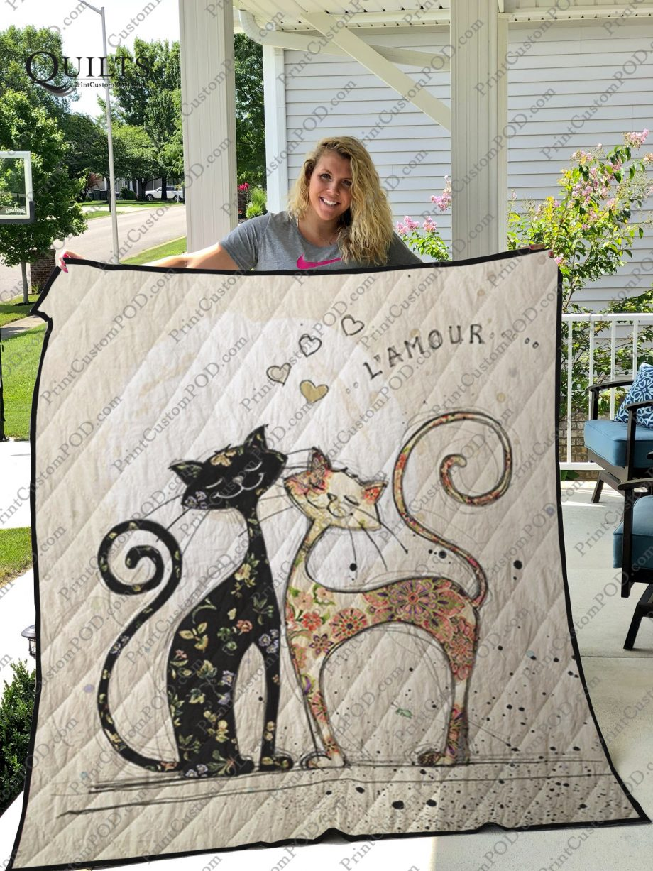 Two Lovecats Quilt Blanket