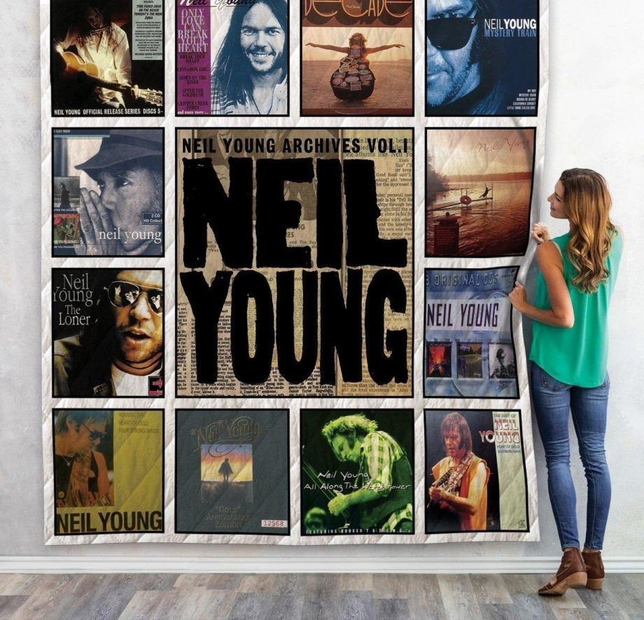 Neil Young Compilations Albums Quilt Blanket 01