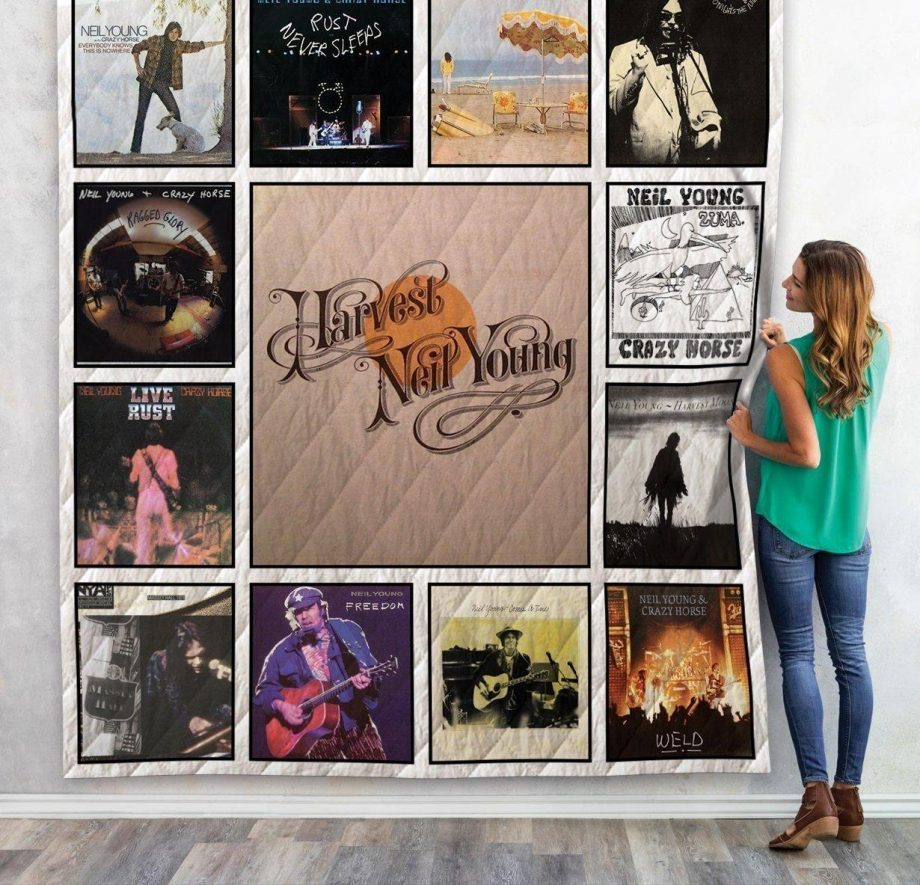 Neil Young Best Albums Quilt Blanket 01