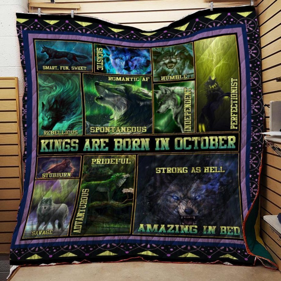 Kings Are Born In October Wolf Quilt