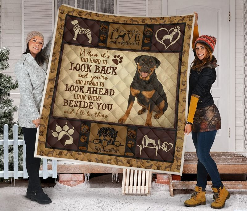 Boston Celtics –Rottweiler Dogs Beside You Quilt Blanket