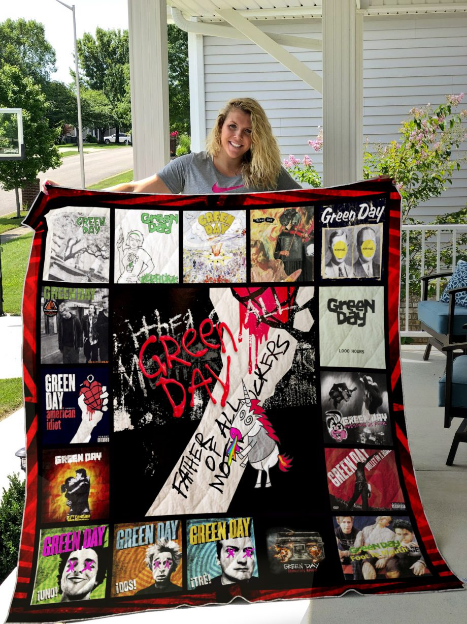 Green Day Style 3 Album Covers Quilt Blanket
