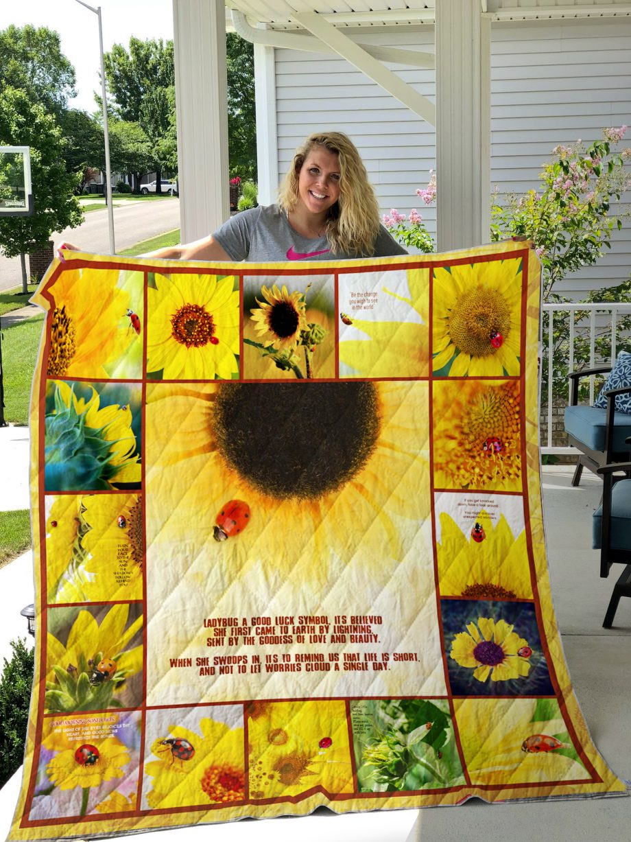 Ladybugs And Sunflowers Quilt Blanket